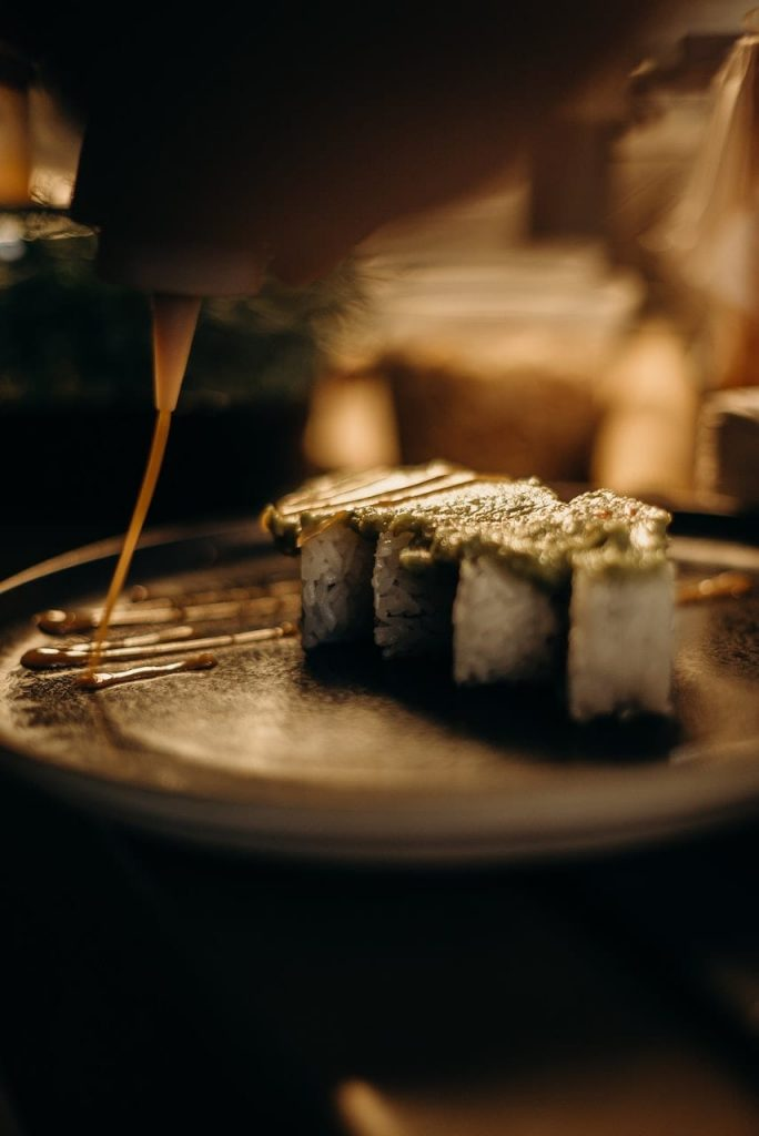 Close up of sushi on plate